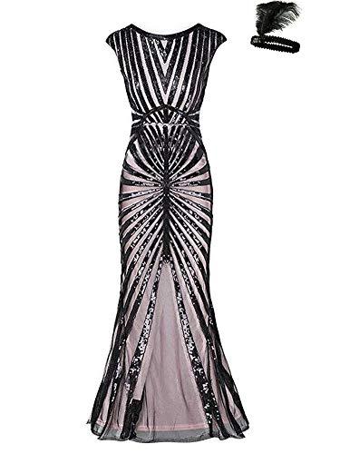 General 1920s Kleid Damen Maxi Lang Vintage Abendkleid -