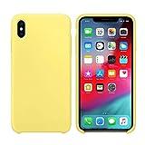 abitku Coque iPhone X, Coque iPhone XS Silicone, Silicone Liquide Fine Étui Ultra Slim Gel Antichoc Protection Case avec Tissu Microfibre Coussin Coveri pour Apple iPhone XS/X (Jaune)