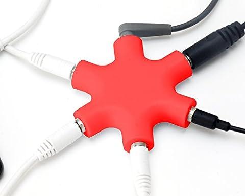 MyGadget 5-Fach Audio Splitter - 3,5 mm Aux Klinkenverteiler - Klinke Verteiler Kopfhörer Buchse für Smartphones, Laptops und PC in Rot