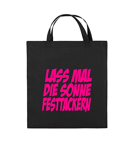 Comedy Bags - LASS MAL DIE SONNE FESTTACKERN - Jutebeutel - kurze Henkel - 38x42cm - Farbe: Schwarz / Silber Schwarz / Pink