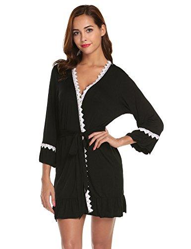 Untlet Damen Morgenmantel V-Ausschnitt Kimono mit Spitze Nachthemd Langarm Bademantel Kurz Nachtwäsche Baumwolle Robe