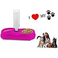 Comedero para mascotas - Dispensador de alimento y bebida para animales - Fucsia