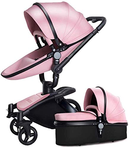 LAZ 2 in 1 Baby Stroller for Newborn and Toddler, High View Travel System Pushchair Pram Buggy (Color : Pink) LAZ Suitable for baby strollers from birth to 25 kg, each stroller is pressure tested to ensure the safety of each baby. Multi-position Reversible Seat: Carrycot for newborn to 6 months can simply convert to seat for toddlers. Easily switch from the carrycot to toddler seat once your baby is 6 months old or can sit unaided,making it an ideal stroller for both infant and toddler. Reversible seat design allows baby to face you or face the world 1