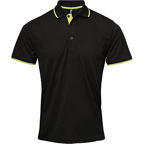 Premier Mens Coolchecker Contrast Trim Corporate Workwear Polo Shirt Black / Lime