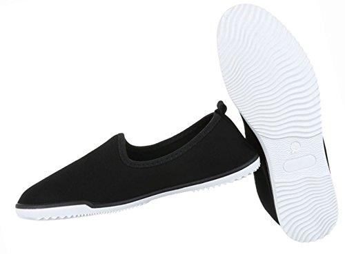 Damen Schuhe Halbschuhe Slipper Freizeitschuhe Rosa Schwarz 97jFbSsWXZ