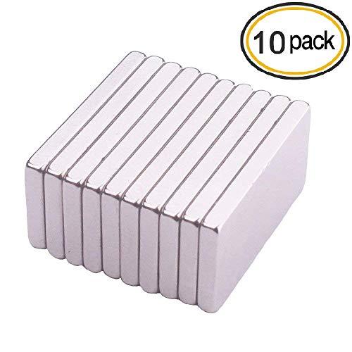 KAINSY 10 Stück Magnete, Stark Kräftig Neodym Viereckig Ziegel Magnete, Kühlschrank, Glas Magnetboards, Magnettafeln - 20 x 10 x 2 mm - Caraudio-empfänger