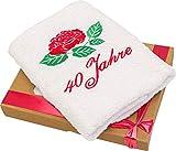 Abc Casa 40 Geburtstag Geschenk Handtuch für Frauen, Damen und Freundin mit Rose - 40 Jahre Happy Birthday Geschenkidee -