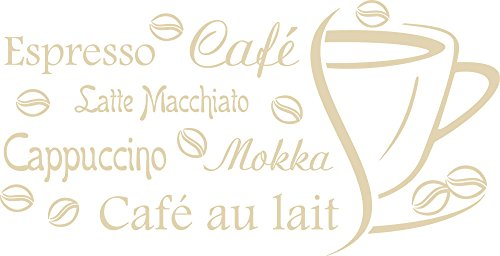 GRAZDesign 620582_57_082 Wandtattoo Küche Kaffee Espresso Café Cappuccino Wand-Worte | Wand-Sprüche und Zitate für Fliesen - Wände - Möbel | für Restaurant und Bars (112x57cm//082 beige) -