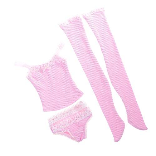MagiDeal 3pcs/Set Pink Schultergurt Unterwäsche, Unterhose, Strümpfe Puppenkleidung Set für 1/3 BJD weibliche - Unterwäsche-set Puppenkleidung