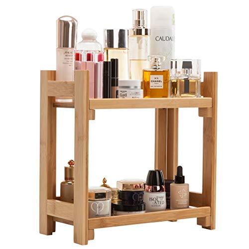 I Storage Makeup Organizer Cosmetic Parfüm-Ausstellungsstand mit Schublade, große Kapazität für Aufbereiter, Schlafzimmer oder Badezimmer, natürlicher Bambus -