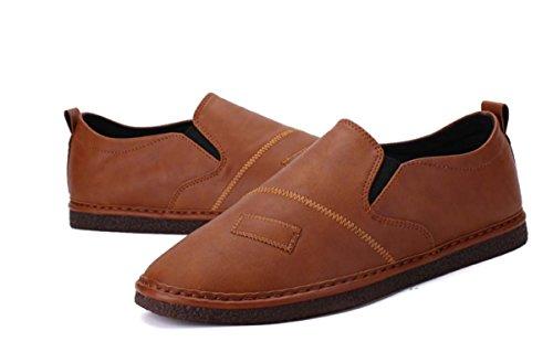 Männer Casual Casual Naht Slip On Leder Schuhe Loafer Flache Schuhe Herbst Komfortable Casual Schuhe England Style Einfache Walking Schuhe ( Color : Brown , Size : 41 ) (Color Brown Leder)