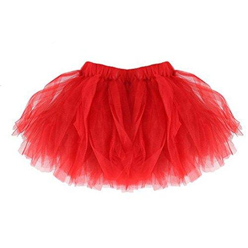 OVERDOSE Damen und Ich Kurz Petticoat Ballett Tanzkleid Ballklei Abendkleid Damen Tutu Unterkleid Rock Abschlussball Reifrock Unterrock Faschingskostüme(A-Rot,Damen-Freie)