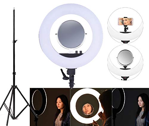 "TrendMax 18 Inches Big LED Ring Light for Camera, Phone tiktok YouTube Video Shooting and Makeup, Stand and Light (18"" inchs Light + Stand + Mirror)"