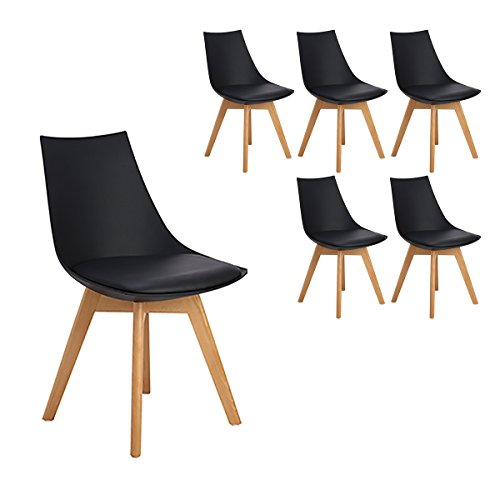 H.J WeDoo Lot DE 6 Rétro Chaise Salle à Manger Design scandinave, Chaises de Cuisine Rembourrée Chaise avec Pieds en Bois et Assise en PU, Noir