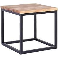 Indhouse - Mesa auxiliar loft con estilo industrial en hierro y madera maciza Hannah