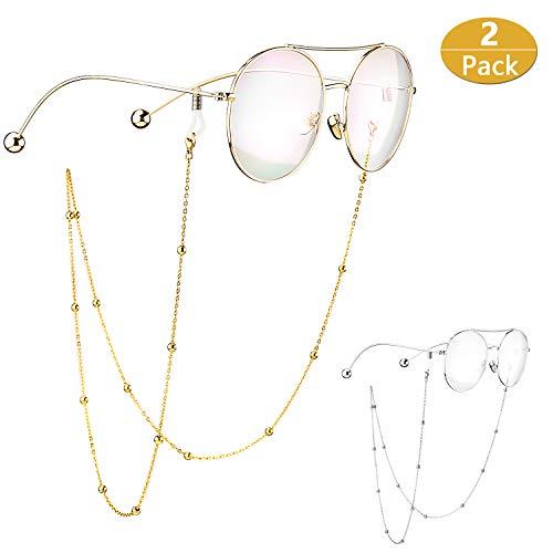 S'WONDERLAND 2 Stück Perlen Nicht verblasst edel Stahl Brillen Kette Lesebrille Sonnenbrille Kette Gläser Schnüre und Ketten für Frauen mit 4 Silizium-Anschlüssen(Gold und Silber)