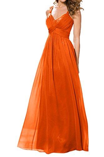 Promgirl House Damen Elegant Chiffon Traeger A-Linie Abendkleider Hochzeits Party Ballkleider Lang Orange