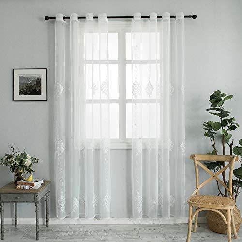 Topfinel Europäische Vorhänge mit Mustern Voile Ösengardine mit Stickerei Romantisch Vintage für Wohnzimmer Schlafzimmer 2er Set je 215x140cm (HxB) Weiß