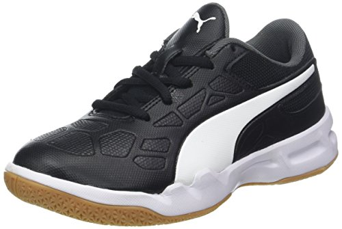Puma Unisex-Kinder Tenaz Jr Multisport Indoor Schuhe Schwarz Black White-Iron Gate-Gum, 39 EU