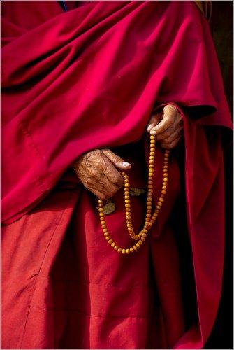 x 60 cm: Hände von einem Mönch von Ellen Clark/Danita Delimont - hochwertiger Kunstdruck, neues Kunstposter (Hochwertige Mönch Robe)