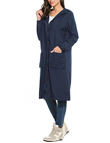 Trudge Damen Regenjacke Parka Wasserdicht Kapuzenjack Sport Jacke Funktionsjacke Lang Mantel Langform Outdoor Winddicht Dunkelblau