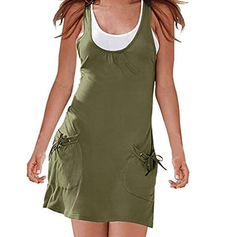 Chickwin 2pcs Women's Sexy Casual Sleeveless Pocket Solid Vest+ Sundress Mini Dress (UK 8-10, Army