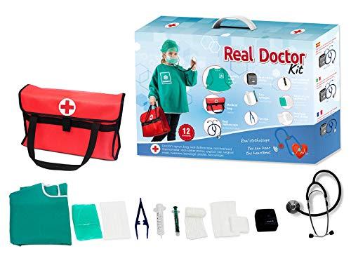 Otuli Arztkoffer 12-teilig Arzt-Kostüm Arztkittel funktionierende Werkzeuge wie Stethoskop Thermometer Arztstempel Spritzen für Kinder ab 5 Jahren Geschenke für Mädchen und Jungen -