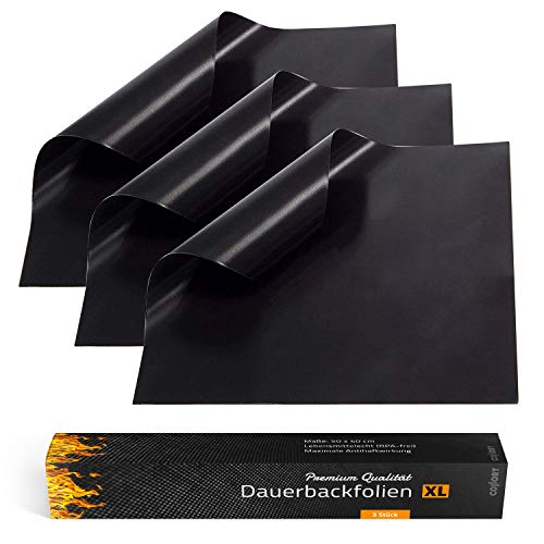 Collory Premium Dauerbackfolie (3er Set) | EXTRA Gross 50x40 cm | Teflon antihaftbeschichtete Backunterlage | Wiederverwendbares Backpapier | Backmatte | Dauerbackmatte | Lebensmittelecht BPA-Frei