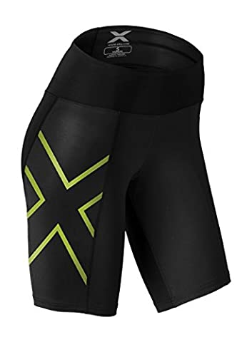 2XU Women's Mid-Rise Compression Shorts, Black/Bright Green, X-Small