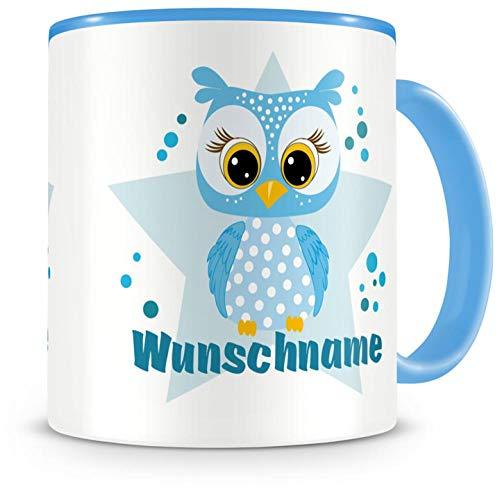 Samunshi® Kinder-Tasse mit Namen und einer blauen Eule als Motiv Bild Kaffeetasse Teetasse Becher Kakaotasse Nr.2: blau H:95mm / D:82mm