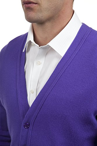 Great and British Knitwear - 100% Laine Cardigan - Uni - Col V - Homme Violetta
