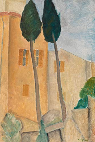 Art Journal: Amedeo Modigliani - Cypresses and Houses at Cagnes - Art Cover College Ruled Notebook   110 Pages