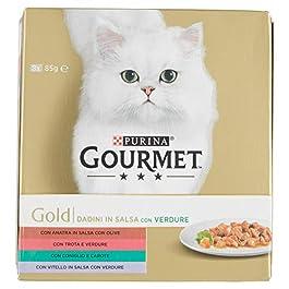 Purina Gourmet Gold Umido Gatto Dadini in Salsa con Verdure, con Anatra, Trota, Coniglio Vitello, 8 Lattine da 85 g Ciascuna, Confezione da 8 x 85g