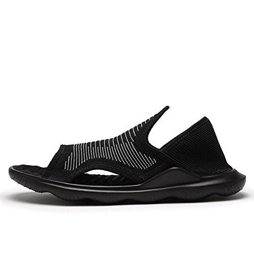 Sandali in tessuto flyknit maschile scarpe da spiaggia di sabbia di moda suola in gomma resistente morbida traspirante e leggera Black