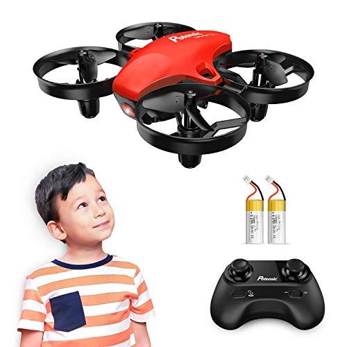 Potensic Mini Drone, RC Drone 2.4G 4 Canales 6-Axis Gyro, Quadcopter con Modo sin Cabeza, Altitud Hold, Alarma de Batería y Fuera de Rango y 3 Modos de Velocidad, Regalos y Juguetes, A20 Rojo