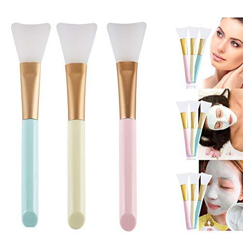 Pinkiou Gesichtsmaske Silikon Pinsel Schlamm Maske Griff Make-up DIY Gesichtsmaske Körper Lotion Mixing Foundation Pinsel Schönheit Kosmetik-Tool (Packung mit 3)
