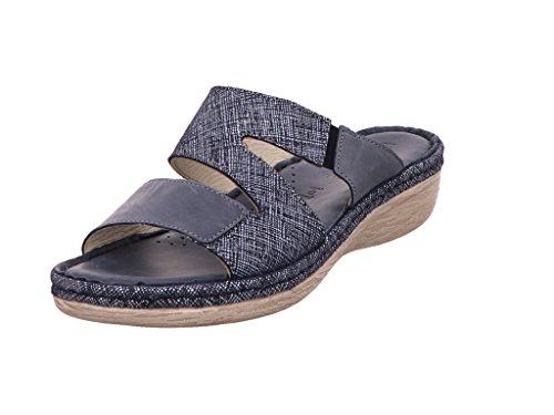 Rohde Damen Carrara Pantoletten Blau (Jeans)