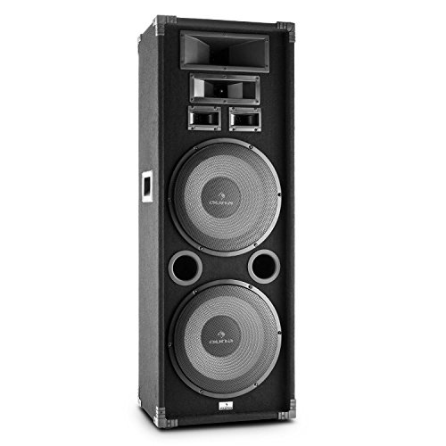 "auna PA-2200 - passiver 3-Wege Lautsprecher, Fullrange PA Box, 1000 Watt max. Leistung, 2 x 30 cm (12"")-Tieftöner, 2 x Mitteltöner, Tragegriffe, schwarz"