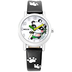 Cute Cartoon Panda Leather Strap Quartz Children Girl Wrist Watch,Black