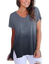 dee55883610483 NPRADLA Maglietta A Maniche Corte con Scollo A V Manica Corta da Donna A  Maniche Corte T-Shirt da Uomo…