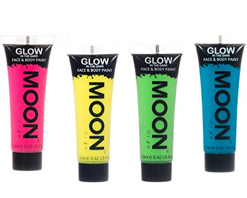 Moon Glow Neon Glow in the Dark Face & Body Paint Festival Party Set of 4 x 12ml by Moon Glow (Glow In The Dark Neon Face Paint)