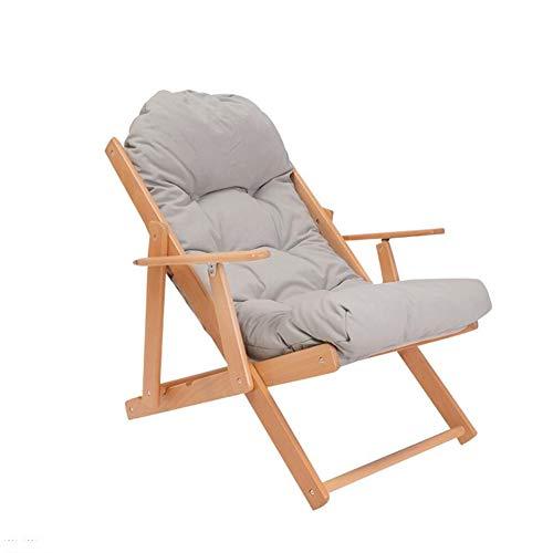Wgxx sedie pieghevoli legno massiccio  beach chair soggiorno pigro divano lounge chair sedia pieghevole pausa pranzo (colore : gray)