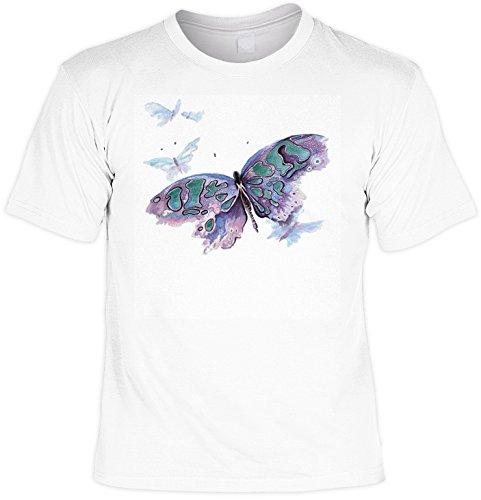Schmetterling- Shirt /T-Shirt/Baumwoll-Shirt lässiger Aufdruck: Watercolor Butterfly - cooles Motiv Weiß