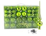 Geschenkestadl 100 Weihnachtskugel Grün mit Spitze und 100 Metallhaken Christbaumschmuck Kugel (Grün)