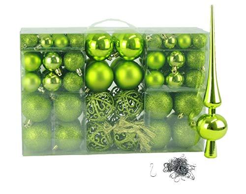 100 Weihnachtskugel Grün mit Spitze und 100 Metallhaken Christbaumschmuck Kugel (Grün)