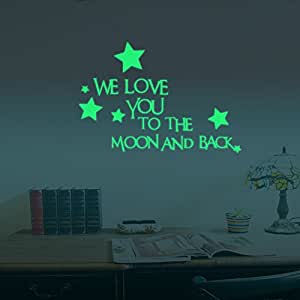 ufengke we love you sterne wandsticker fluoreszenz aufkleber leuchten im dunkeln kinderzimmer. Black Bedroom Furniture Sets. Home Design Ideas