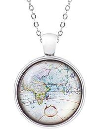 Klimisy - Weltkarte Globus Kette mit Anhänger - Weltkugel-Amulett aus Glas - elegante Halskette mit Medaillon - Reise-Glücksbringer