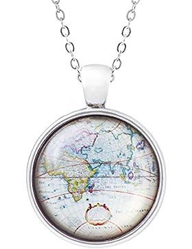 Klimisy - Welt-Karte Kette mit Glas-Anhänger für Damen - Wanderlust Halskette mit elegantem Bild-Medaillon - moderner...