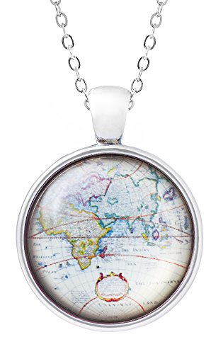 Klimisy - Weltkarte Globus Kette mit Anhänger - Ein Baum wird gepflanzt für jede verkaufte Halskette - Weltkugel-Amulett aus Glas - Reise-Glücksbringer (Welt-anhänger-halskette)