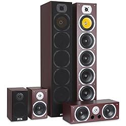 auna V9B Surround - Set 5 Enceintes, Système de Son Surround, Système Home Cinéma, Châssis Bass Reflex texturé, 400 Watt RMS, Réponse en fréquence: 20 Hz à 20 kHz, Montage Mural, Acajou